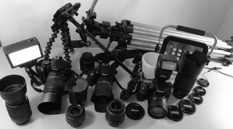 """Some of our camera equipment, not counting lighting. Don't trust your investment to an agent who uses a cell phone camera, or a digital """"point and shoot """" camera."""