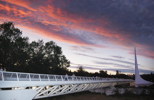 A Sundial Bridge Sunset. Connects to the McConnell Arboretum and Sacramento River trails.